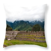 Machu Picchu Main Square And The Group Of The Three Doorways Throw Pillow