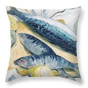 Mackerel With Oysters And Lemons, 1993 Oil On Paper Throw Pillow