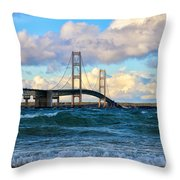 Mackinac Among The Waves Throw Pillow