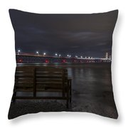 Mackinac Bridge And Bench Throw Pillow