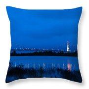 Mackinac Bridge At Dawn Throw Pillow