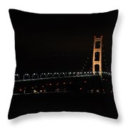 Mackinac Bridge Night Shot II Throw Pillow