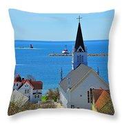 Mackinac Island Hillside View Throw Pillow