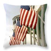 Mackinac Island Michigan - The Grand Hotel - American Flags Throw Pillow