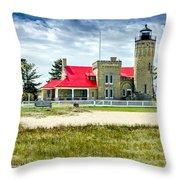 Mackinac Point Lighthouse Michigan Throw Pillow