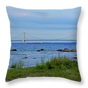 Mackinaw Bridge At Dusk Throw Pillow