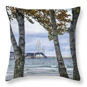 Mackinaw Bridge In Autumn By The Straits Of Mackinac Throw Pillow