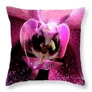 Macro Magenta Orchid Throw Pillow