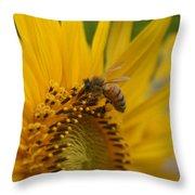 Macro Of Bee On Sunflower...   # Throw Pillow