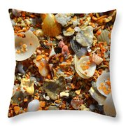 Macro Shells On Sand3 Throw Pillow