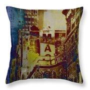 Macys Three - Neo-grundge - Famous Buildings And Landmarks Of New York City Throw Pillow