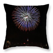 Fireworks Over The Empire State Building Throw Pillow by Nishanth Gopinathan