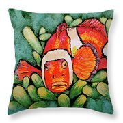 Mad Clown Throw Pillow by Linda Simon