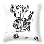 Mad Hatter Throw Pillow by Donna Haggerty