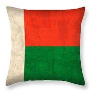 Madagascar Flag Vintage Distressed Finish Throw Pillow