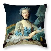 Madame De Sorquainville, 1749 Oil On Canvas Throw Pillow