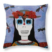 Madame Dragonfly Day Of The Dead Throw Pillow
