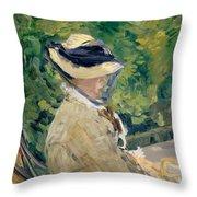 Madame Manet At Bellevue Throw Pillow