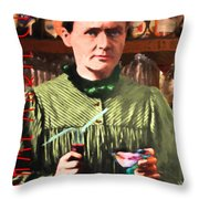 Madame Marie Curie Shaking Up A Killer Martini At The Swank Hipster Club 88 20140625 With Text Throw Pillow