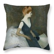 Madame Marthe Letellier Sitting On A Sofa Throw Pillow by Paul Cesar Helleu