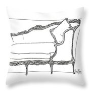 Madame Pompadour's Little  Day Bed Throw Pillow