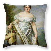 Madame Tallien 1773-1835 Oil On Canvas Throw Pillow