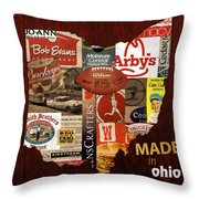 Made In Ohio Products Vintage Map On Wood Throw Pillow