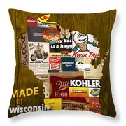 Made In Wisconsin Products Vintage Map On Wood Throw Pillow