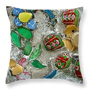 Made Of Broken China Temple Of The Dawn-wat Arun In Bangkok-thai Throw Pillow