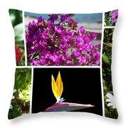 Madeiran Flower Collage Throw Pillow