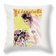 Mademoiselle Cover Featuring A Bride Throw Pillow