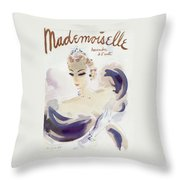 Mademoiselle Cover Featuring A Woman In A Gown Throw Pillow by Helen Jameson Hall