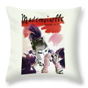 Mademoiselle Cover Featuring A Woman Looking Throw Pillow