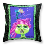 Mademoiselle Flutterby Throw Pillow