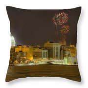 Madison Skyline New Years Eve Throw Pillow
