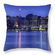 Madison Skyline Reflection Throw Pillow by Sebastian Musial