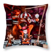 Madness In The Hatter's Realm Throw Pillow