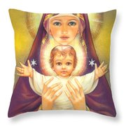Madonna And Baby Jesus Throw Pillow by Zorina Baldescu