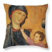 Madonna And Child Enthroned  Throw Pillow