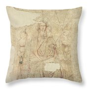 Madonna And Child Enthroned, Drawing For A Fresco Sinopia On Paper Throw Pillow