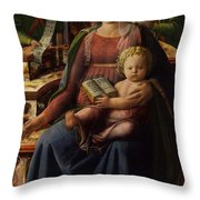 Madonna And Child Enthroned With Two Angels Throw Pillow