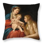 Madonna And Child With Mary Magdalene  Throw Pillow