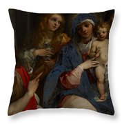 Madonna And Child With Saints John The Baptist With Mary Magdalene And Anne Throw Pillow by Guiseppe Cesari