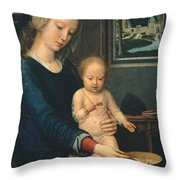 Madonna And Child With The Milk Soup Throw Pillow