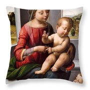 Madonna And Child With The Young Saint John The Baptist Throw Pillow