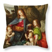 Madonna Of The Rocks Throw Pillow