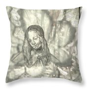 Madonna On Black And White Screen Throw Pillow