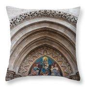 Madonna With Child On Matthias Church Tympanum Throw Pillow