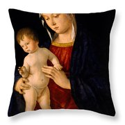 Madonna With The Child Blessing Throw Pillow by Giovanni Bellini