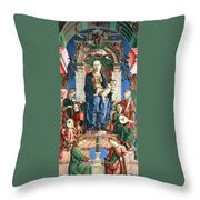 Madonna With The Child Enthroned  Throw Pillow by Cosme Tura